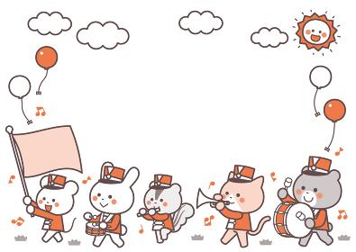 動物のマーチングバンド 行進 キャラクターフレーム 2色