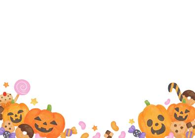 色鉛筆手描き風 ハロウィン お菓子とカボチャのトリックオアトリート フレーム