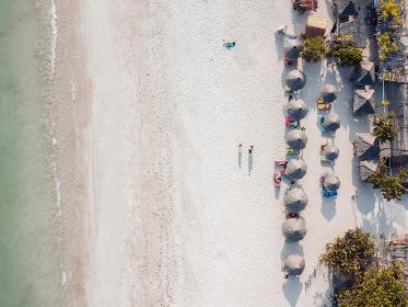 Aerial view of Tanjung Aan Beach,Lombok,Indonesia
