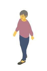 アイソメトリック図法 健康的なおばあちゃんが歩くベクターイラスト