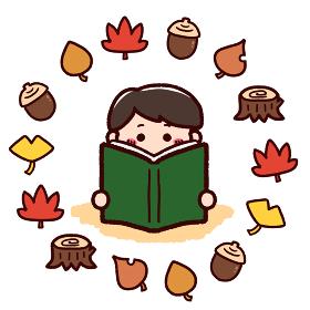 読書の秋 本を読む男の子