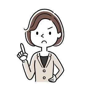 ベクターイラスト素材:真剣な顔で注意を述べる女性、ビジネスウーマン