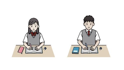 勉強する学生 授業 宿題 中高生 高校生 中学生 男女 イラスト素材