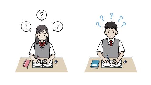 勉強や問題がわからない学生 中高生 高校生 中学生 男女 イラスト素材