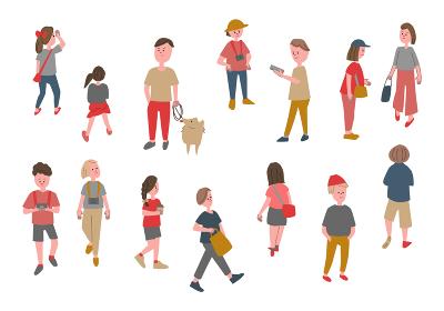 人々の日常生活 手掻き風イラストセット