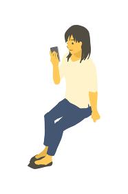 アイソメトリック図法で、スマートフォンを操作する女性のベクターイラスト