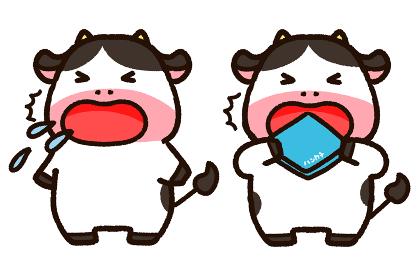 咳をする牛と咳エチケットを守る牛 セット