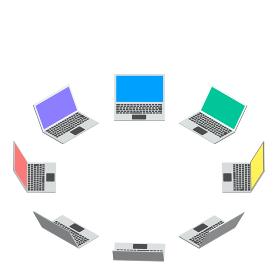 アイソメトリック図法で描かれたラップトップコンピューターの輪