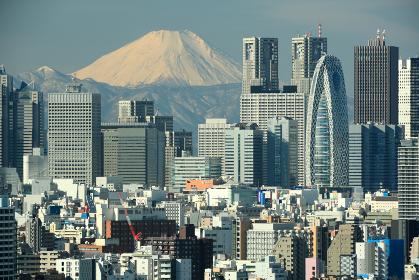 新宿副都心の高層ビルと富士山