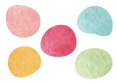 水彩図形 丸ゆがみ 5色セット