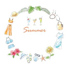 水彩イラスト 手描き ファッション 夏 フレーム