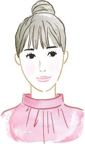 正面を向く女性のイラスト