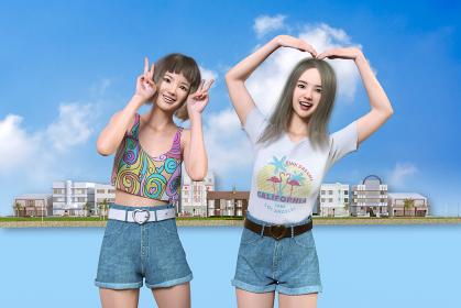 夏の服装をしたかわいいレディース2人がピースサインとおっけージェスチャーを笑顔でする