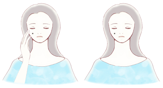 顔にホクロがある、目を閉じた若い女性