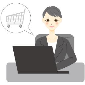 パソコン 女性 ミドル 会社員 買い物 カート