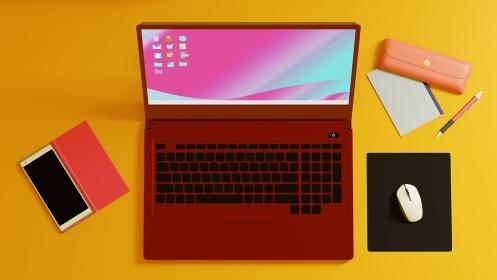黄色いデスクの上にノートパソコン・スマートフォン・周辺機器 雑貨 3DCG