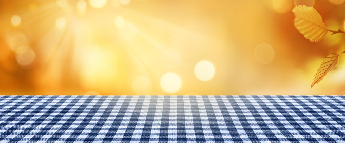 golden autumn background with tablecloth