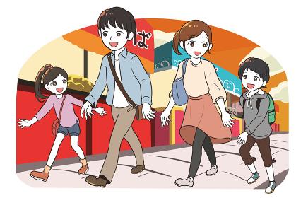 縁日に出かける家族(夕方)