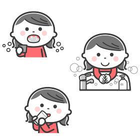 感染症予防/うがい、手洗い、水分補給をする女の子/2色