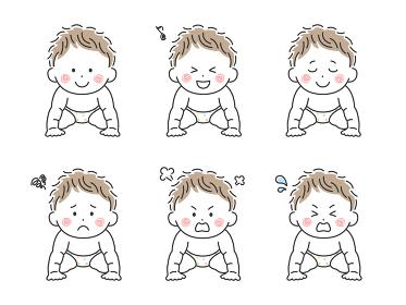 ハイハイをする赤ちゃんのイラストセット