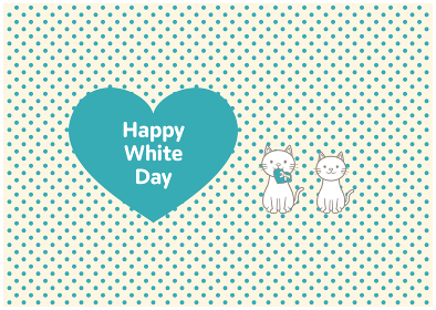 猫2匹とホワイトデーのイラスト