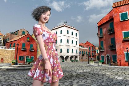 レトロでカラフルな街並みの中で旅行に来た花柄のワンピースの女の子が笑顔でピースサインをする