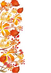 北欧風の紅葉の背景素材 もみじ かえで 草 葉 植物 枯れ葉 落ち葉