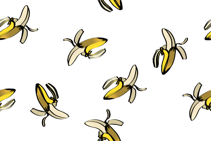 シームレスのバナナのイラストの連続柄 夏のイメージ|ファブリック・テキスタイル主線あり