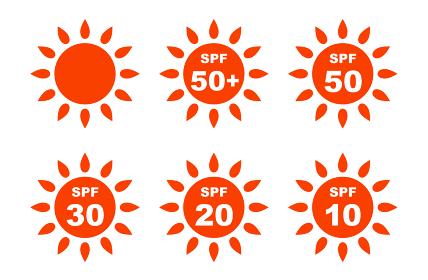 UVケア 太陽マークの アイコンセット