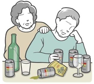 アルコール依存症の中年男性と、寄り添うパートナー