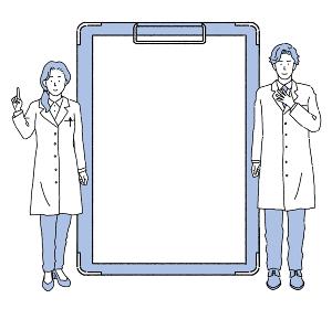 シンプルなタッチ カルテ、クリップボードと医師のイラスト