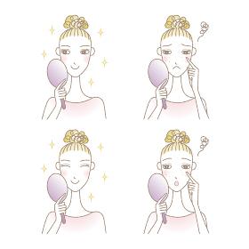 手鏡を持つ女性 肌のトラブル スキンケア