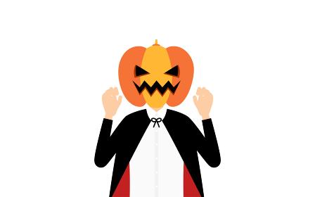 ハロウィンの仮装、カボチャのお化け姿の男の子が両手を構えて驚かせるポーズ