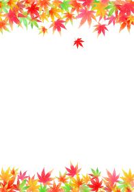 秋、色とりどりのもみじ 縦フレーム
