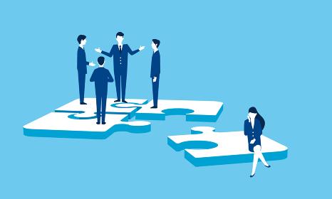 パズルとビジネスマン、チームワークのイメージ
