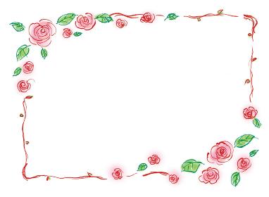 和風手描きイラスト素材 フレーム 飾り 薔薇 バラのフレーム