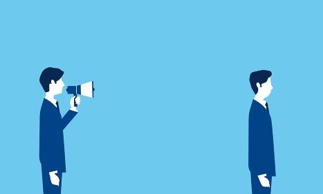 コミュニケーションのネガティブイメージ、青い背景、ベクターイラストレーション