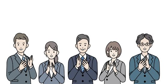 拍手 歓迎 祝う 会社員 スーツ姿 男女 上半身 イラスト素材