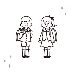 新一年生のイラスト【線画・塗りなし】