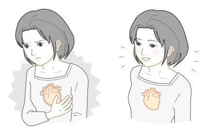不健康な心臓、健康な心臓の女性