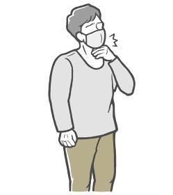 マスクをした状態で、のどの痛みを感じる長袖を着た若い男性