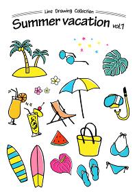 夏の手描きアイコン トロピカル 夏休み