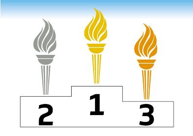 聖火をモチーフにした1位~3位金銀銅のトロフィーのイラストセットTrophyランキング