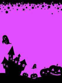 背景素材 ハロウィーン おばけ かぼちゃ 城