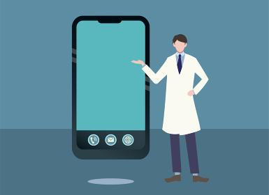 スマートフォンと説明する白衣の男性 医師 医療 人物フラットイラスト