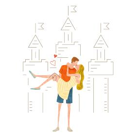 イラスト素材:キスをする若いカップル
