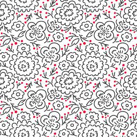 シンプル線画イラストの花柄・モノトーン
