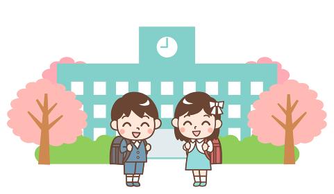 学校の校舎と小学生