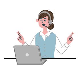 女性 オペレーター パソコン 幸運を祈る