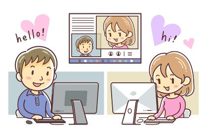 パソコンでオンラインデートをする男女(恋愛・婚活・恋活)